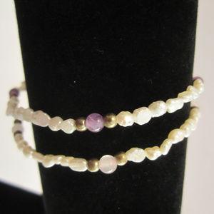 2 Freshwater Pearl Bracelets Amethyst Rose Quartz
